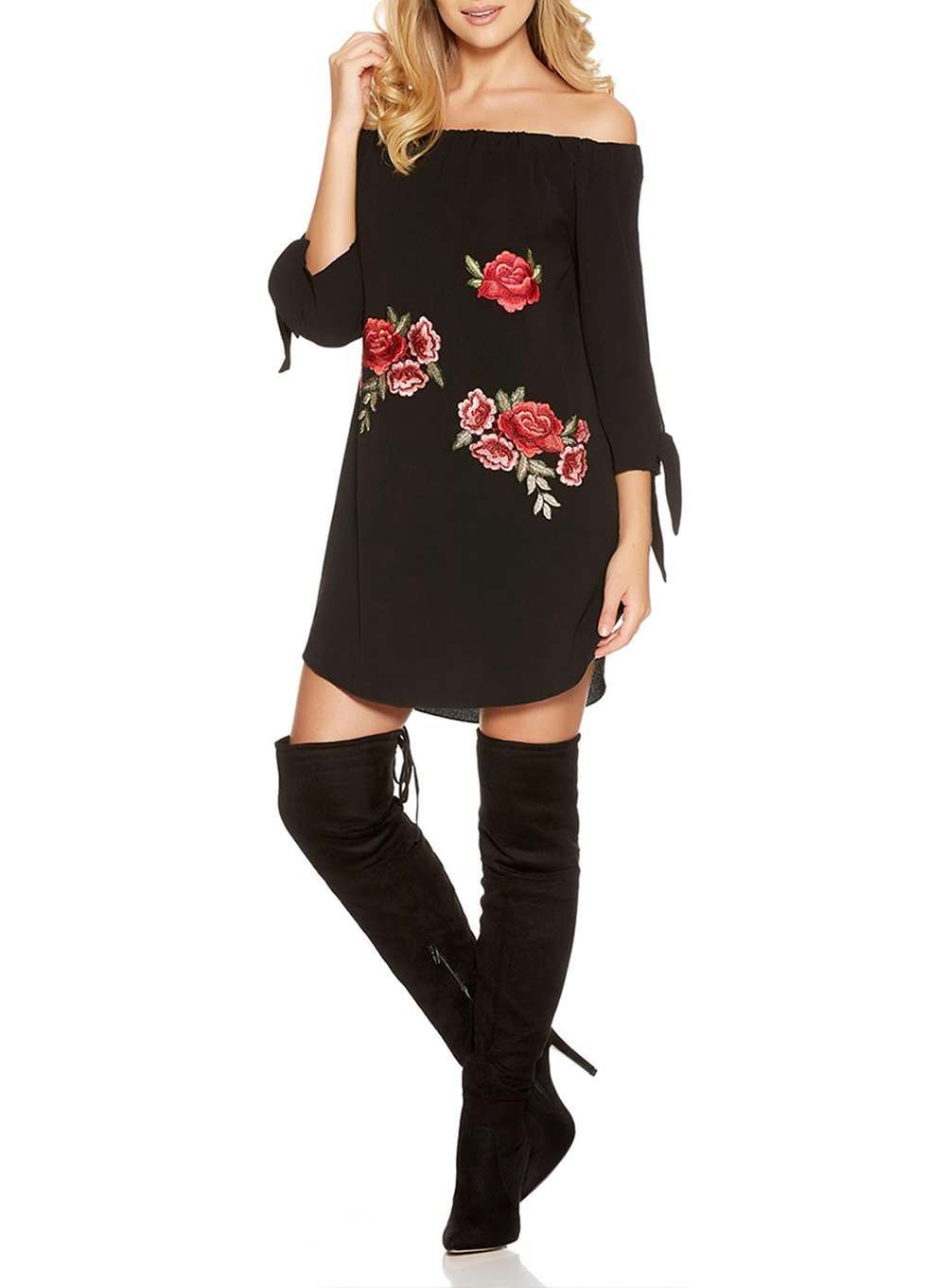 Quiz black embroidered bardot dress bardot dress bardot and