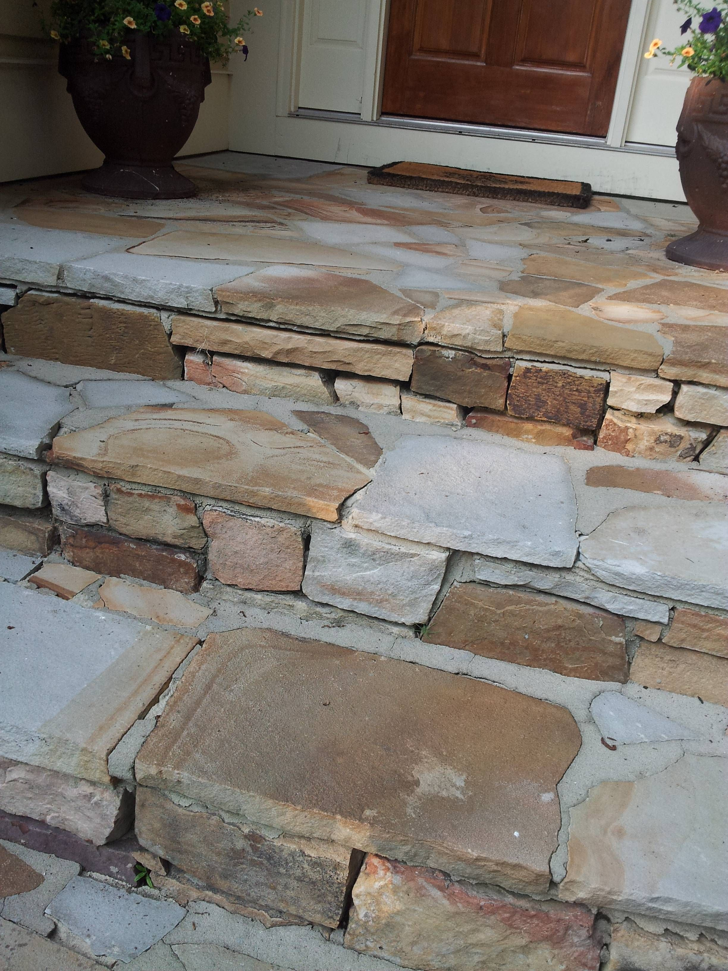 Repairing Crumblling Mortar In Flagstone Walkway Steps Masonry Contractor Talk Flagstone Walkway Flagstone Steps Front Porch Steps