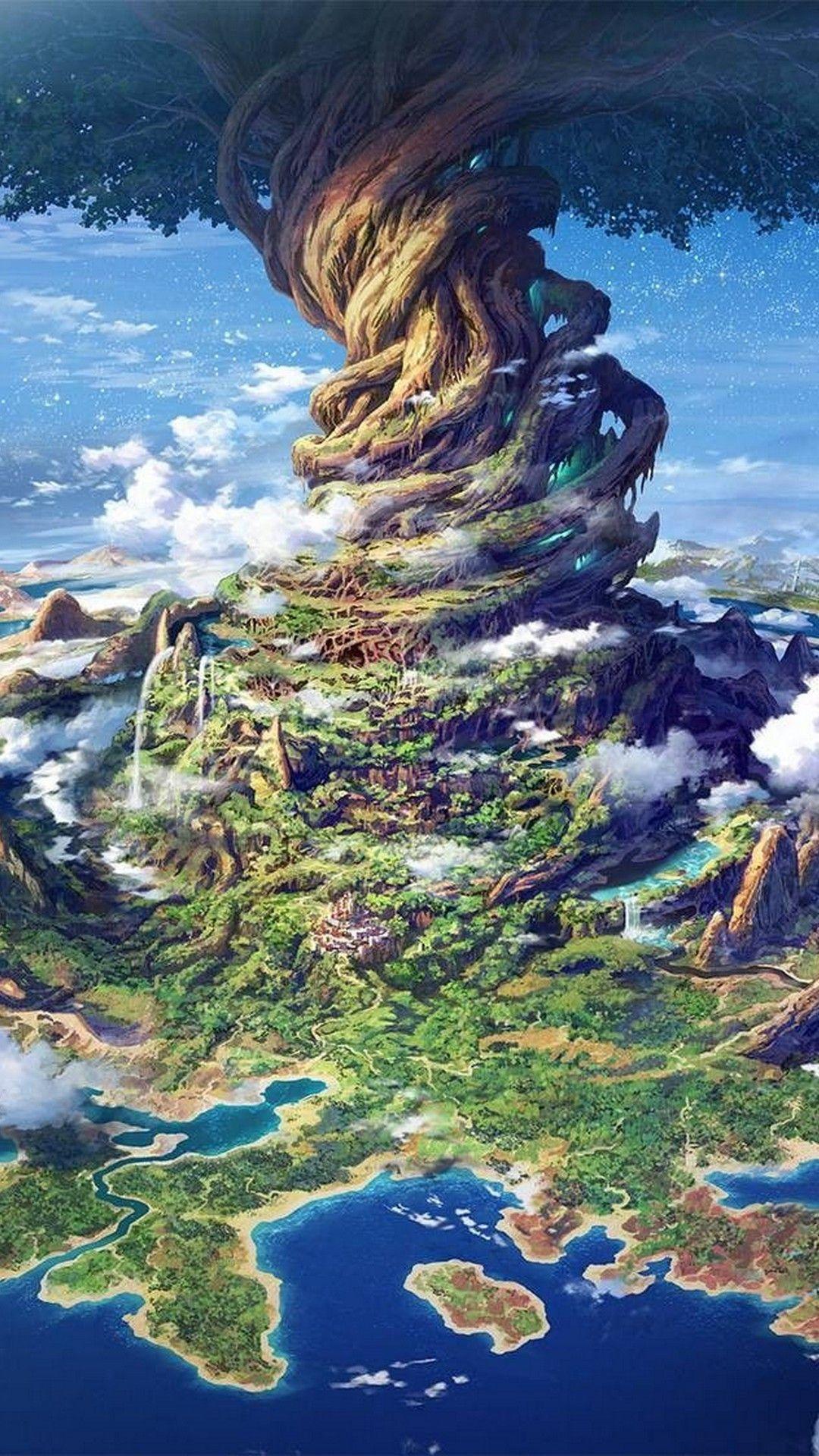 Fantasy iPhone 8 Wallpaper Fantasy landscape, Tree art