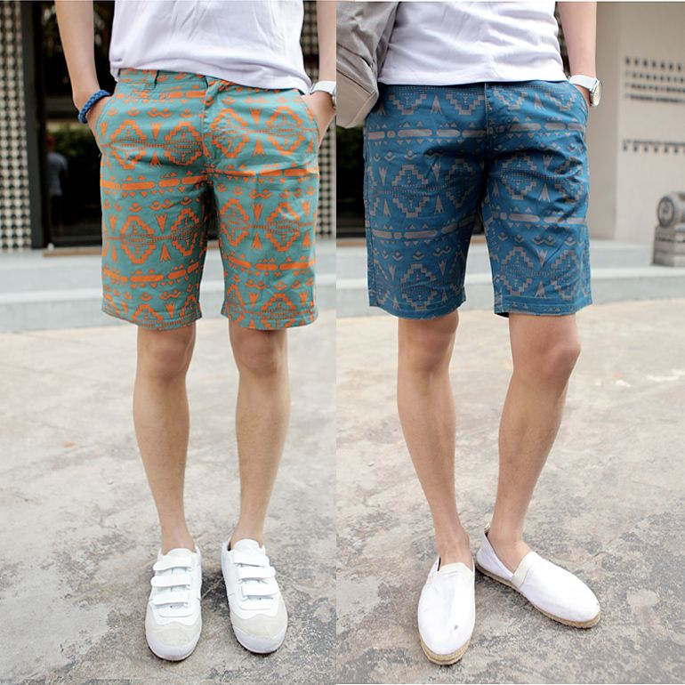 100% cotton 2014 new brand EuropeStyle men's print silm fit casual ...