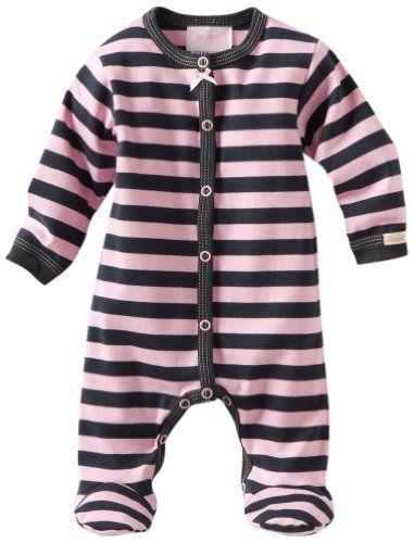 Coccoli Baby Girls Newborn Urban Life Striped Footie