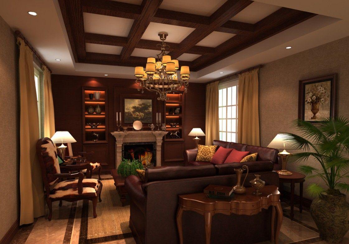 Ceiling Design Living Room Classic American Living Room