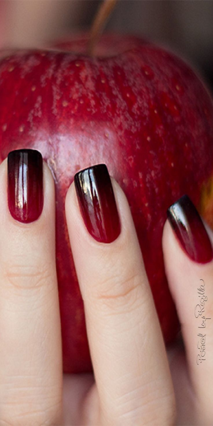Patternless dark red nail art designs that are sophisticatedly ...
