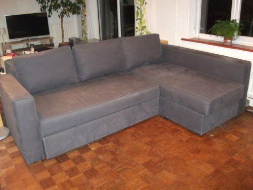 Ikea Manstad Corner Sofa Bed Gobo Blue Grey Ebay 82