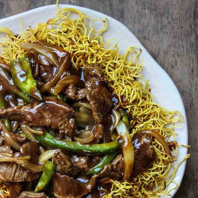 Crispy Cantonese Beef Chow Mein Recipe Beef Chow Mein Food