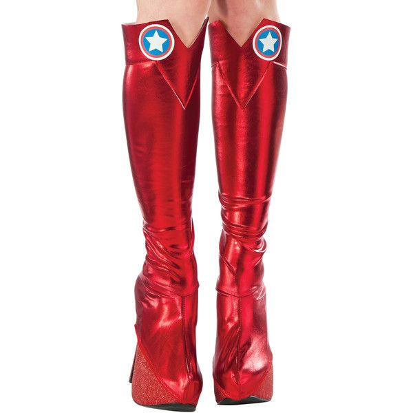 Rubie's Captain America Boot Tops ($9.99) ❤ liked on Polyvore featuring tops and red top