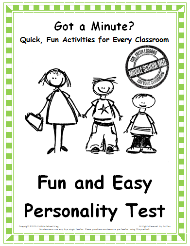 graphic regarding Printable Personality Test for High School Students referred to as Pleasurable and Uncomplicated Individuality Look at Large Faculty Instruction Strategies