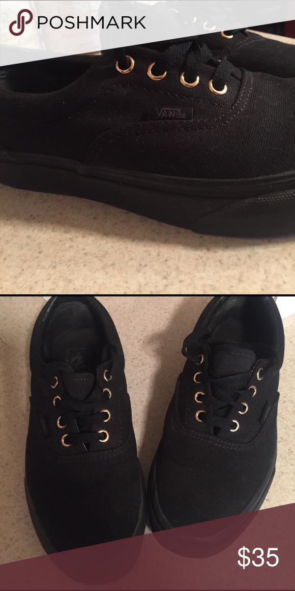 ec0ad466ba27 Never worn black vans Black vans. Gold lace holes Vans Shoes Sneakers