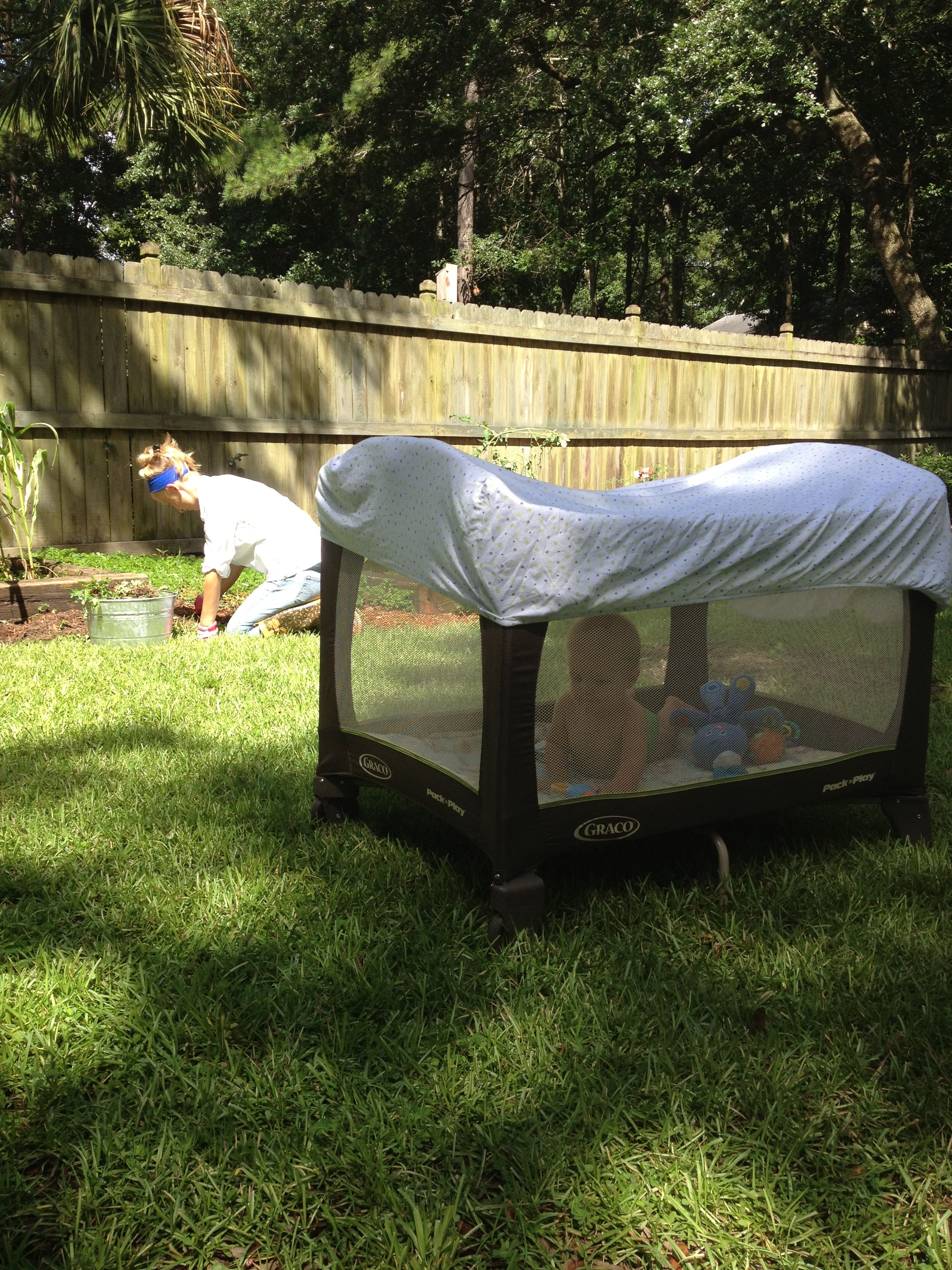 Fitted Sheet Over Playpen To Keep Bugs Out And For Shade
