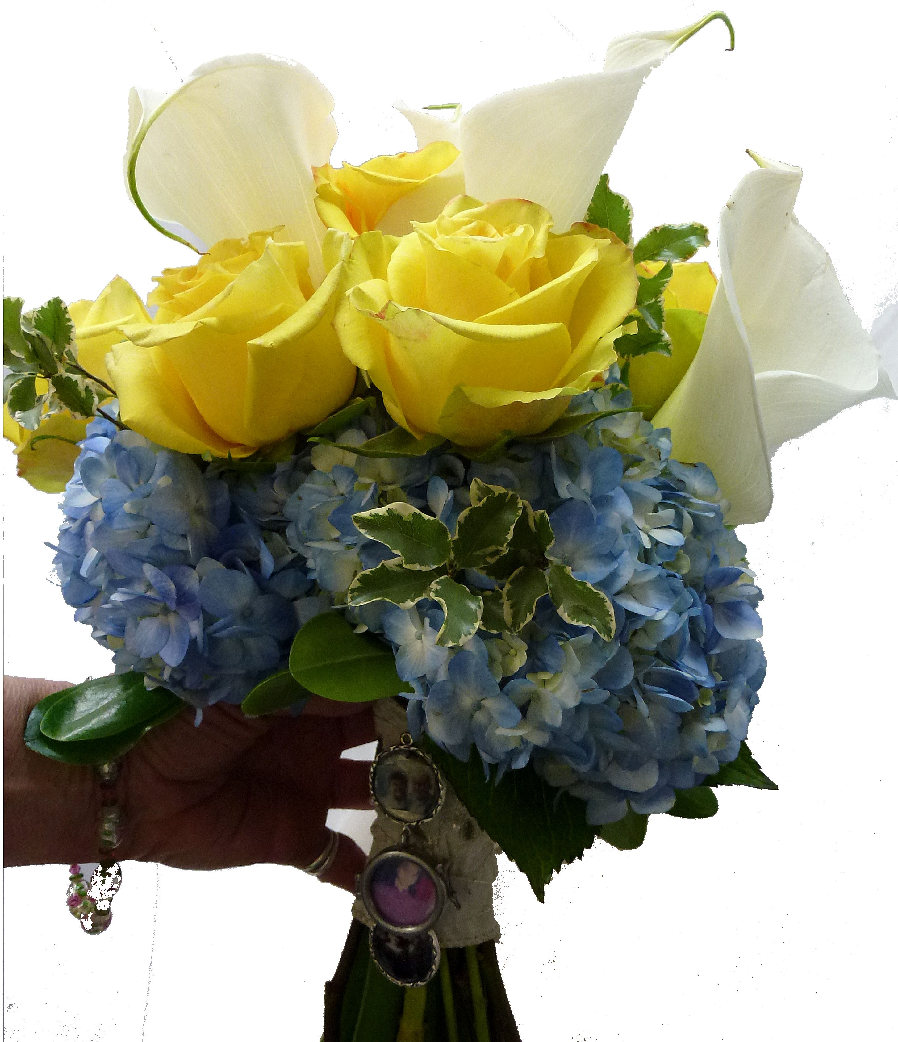 hand-tied memorial bouquet - calla lilies, yellow roses, hydrangea