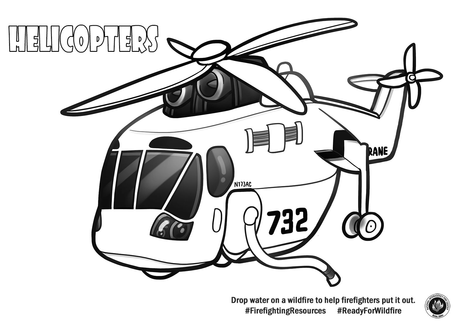 Color A Helicopter Wildland Fire Firefighter Activities For Kids [ 1113 x 1575 Pixel ]