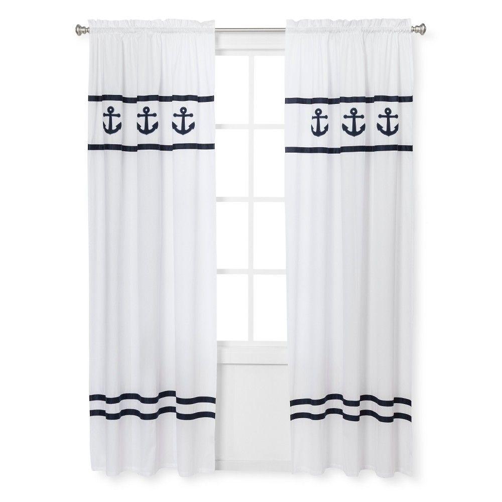 Sweet Jojo Designs Anchors Away Window Panels - Navy