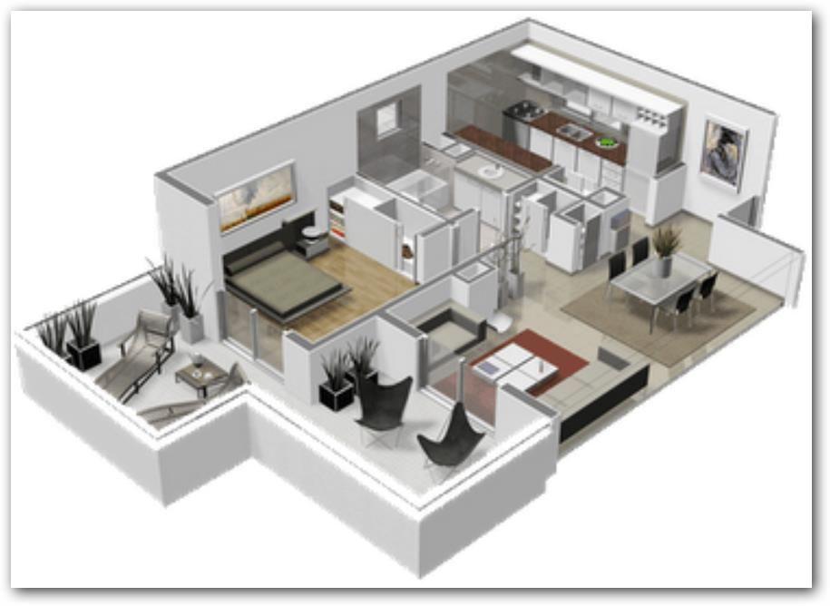 planos de casas modernas de 4 ambientes