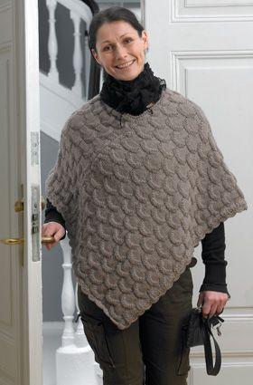 strikket poncho til voksne