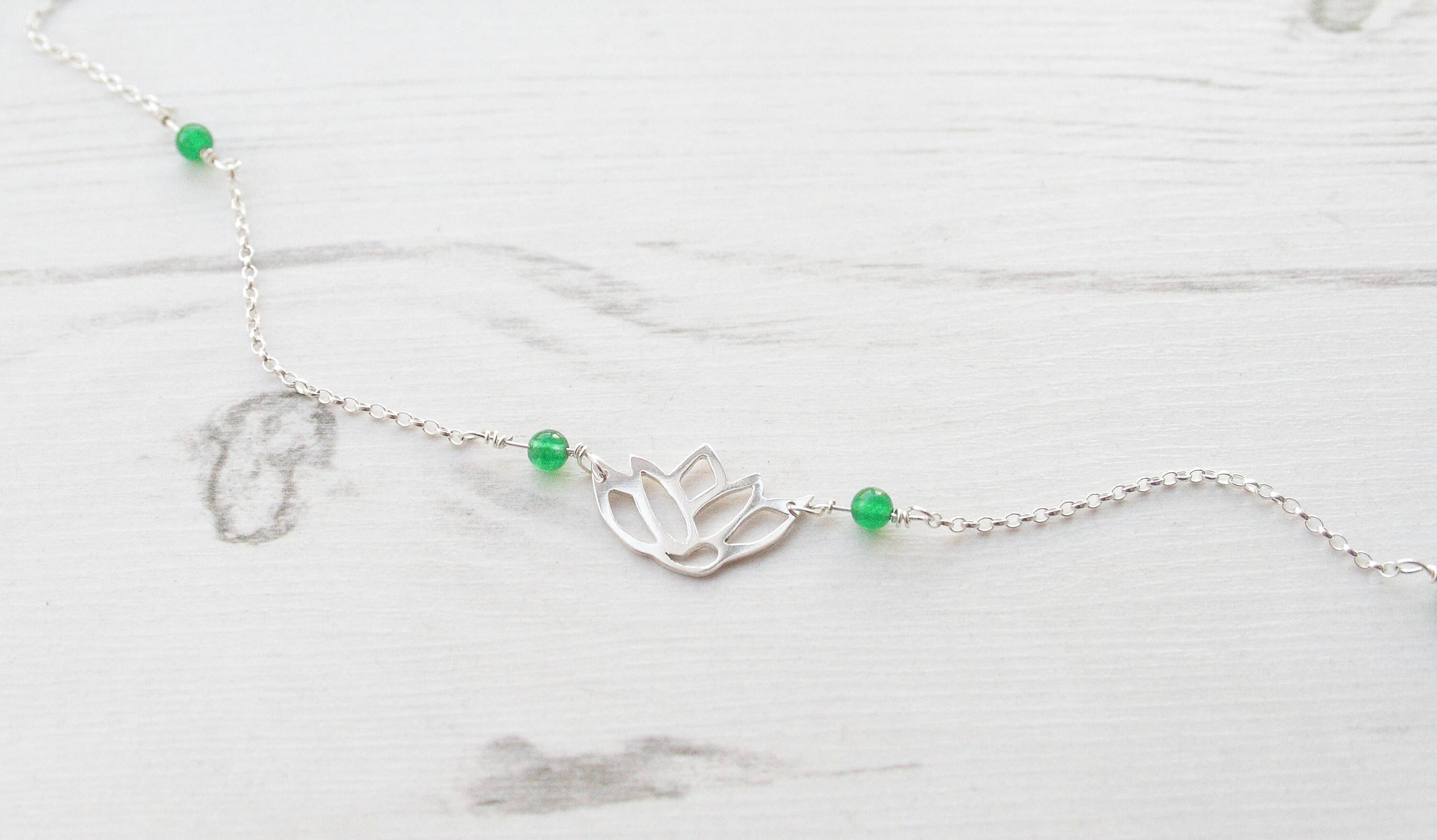 Silver Lotus Necklace With Green Glass Beads Lotus Neckalce