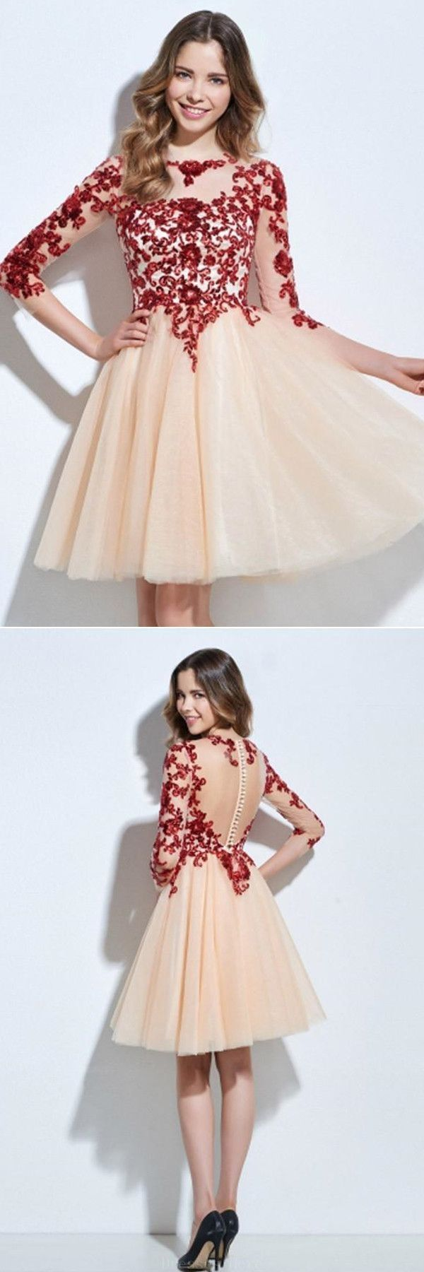 Easy short prom dresses scoop length sleeves appliques sequins