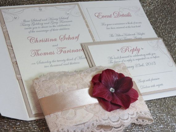 Lace Pocketfold Invitation  Wine Red color