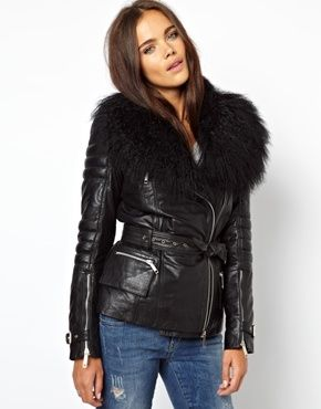 River Island Leather Jacket With Faux Mongolian Fur | Blazers ...
