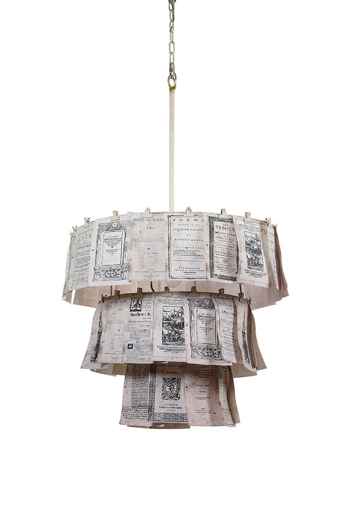 Creative Co Op Metal Chandelier With Vintage Papers And Clips