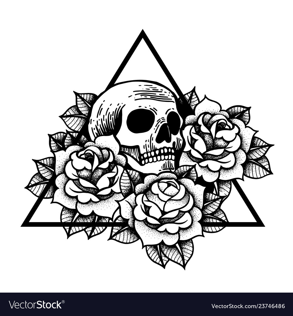Photo of Rose and skull tattoo with sacred geometry frame Vector Image