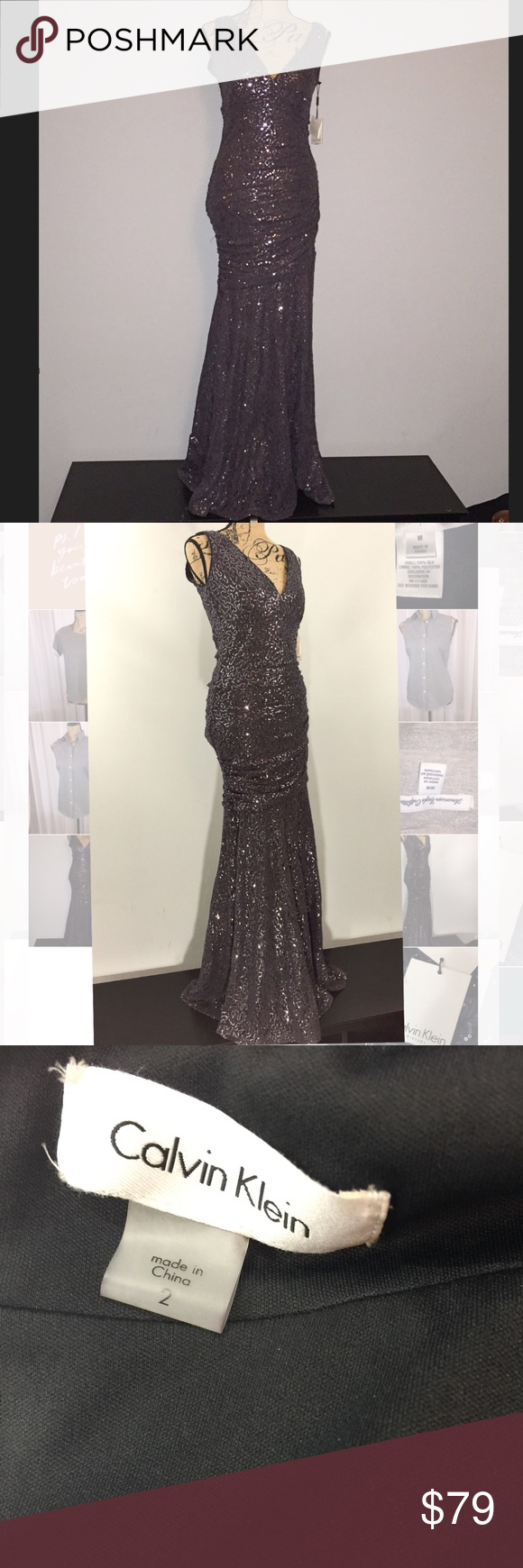 97be99c0baa9 Calvin Klein floor length sequin gown NWT Vneck midnight blue gown. Perfect  for formals, prom, & black tie events. Bunching around waist & hip then  loose ...
