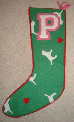 Victoria Secret Christmas Stocking Green Doggie Pink Victorias RARE   eBay