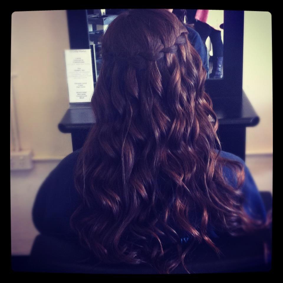 Waterfall braid formal formal hair curls braid braided hair