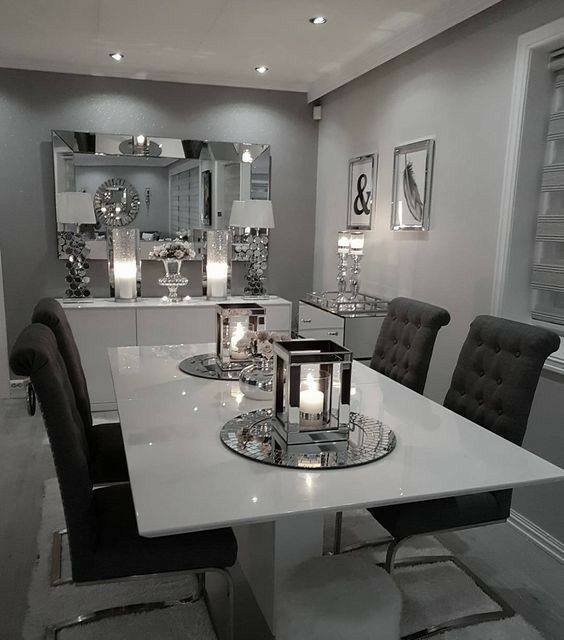 Dinning table decor ideas grey modern room dining also glam living decorating new apartment rh pinterest