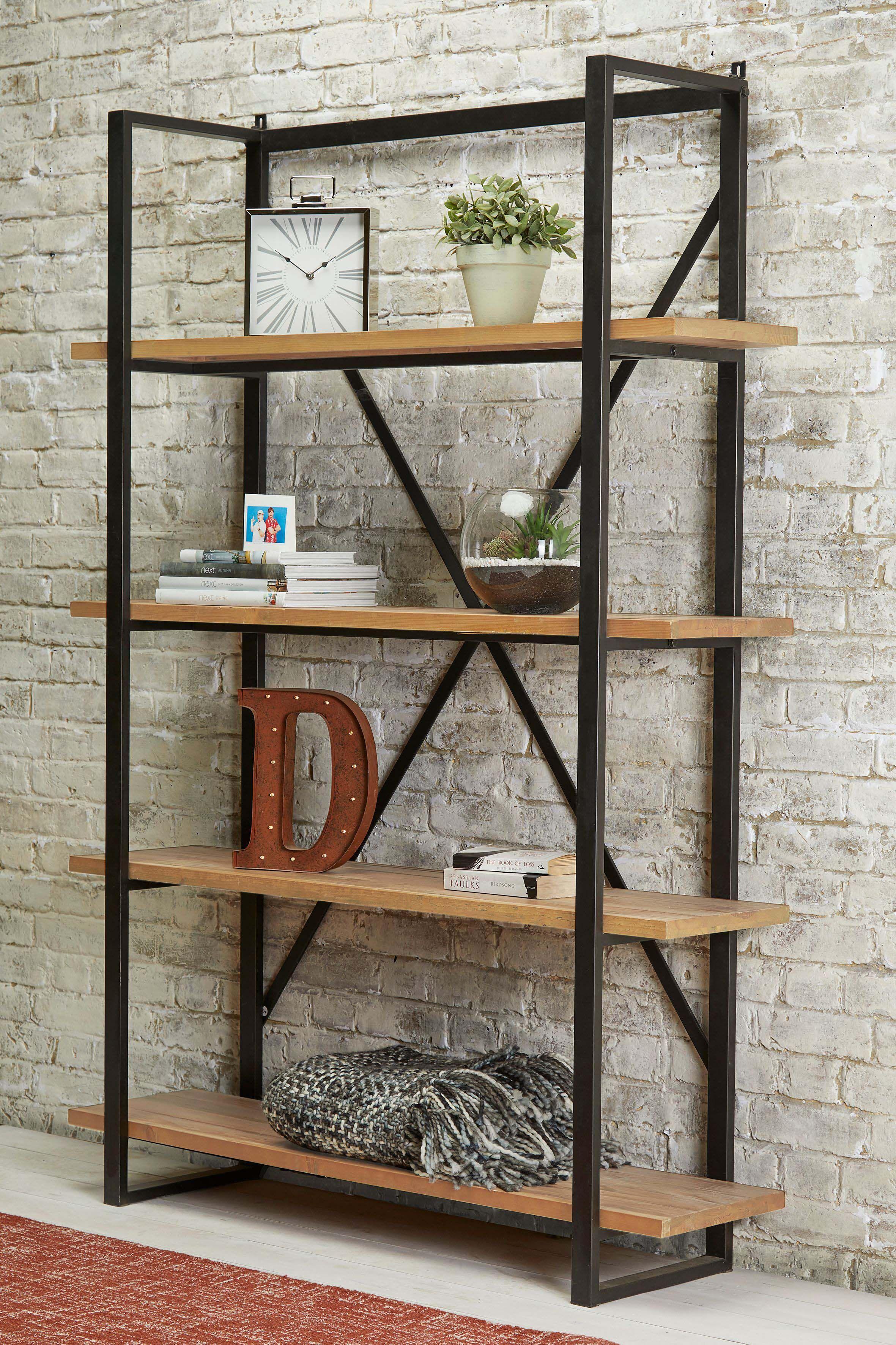 Next Hudson Tall Shelving Natural Shelf Decor Living Room Shelving Metal Furniture #tall #shelves #for #living #room