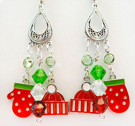 1113+ - Christmas earrings, Christmas jewelry, Christmas charms, green crystals, red crystals, clear crystals, mitten charms, cap charms by EarringsBraceletsEtc on Etsy