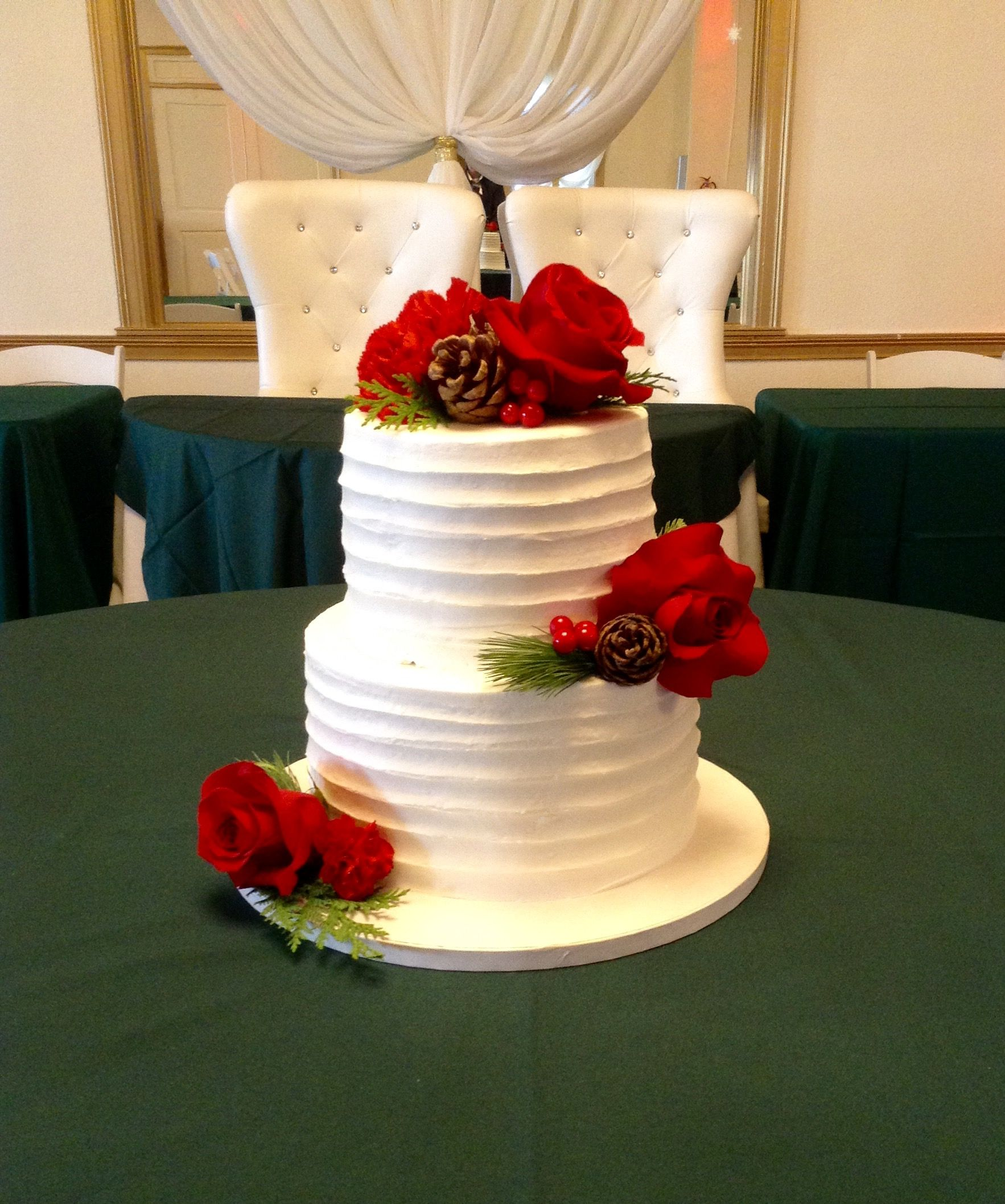 Red Roses And Pine Cones For The Wedding Cake By Nancy At