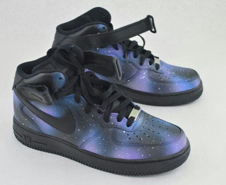 Dark Galaxy Airforce Ones | Nike air, Fresh shoes