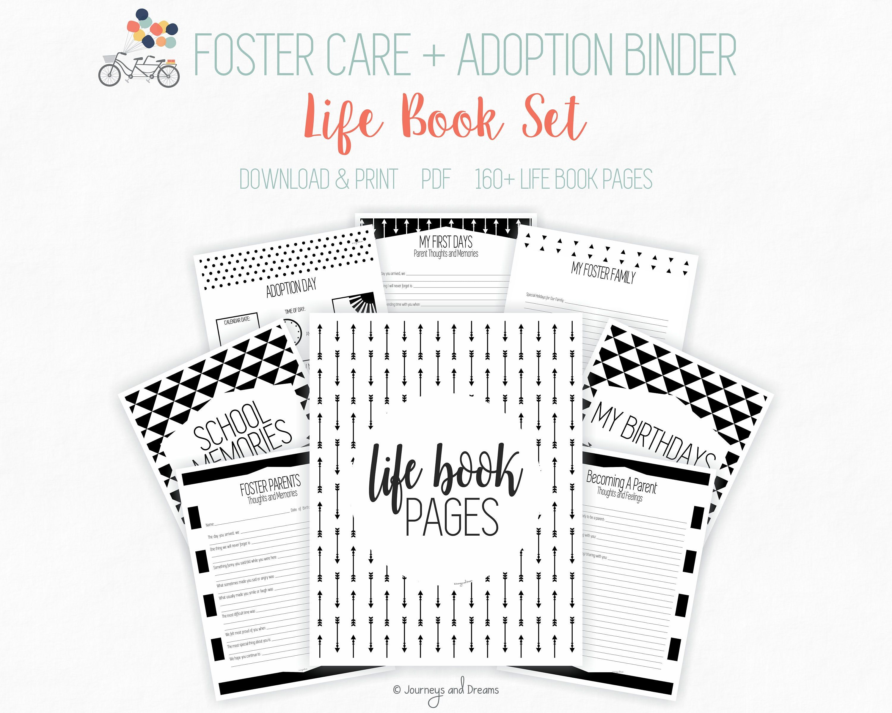 Foster Care / Adoption Life Book Binder . 160 Pages . 8.5