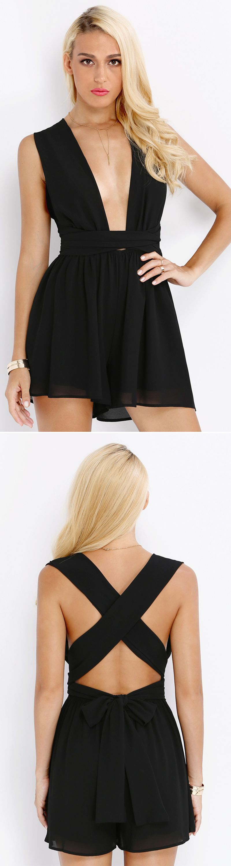 beachy summer style - Black Sleeveless Cross Back Jumpsuit