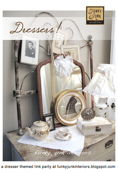How this vintage dresser came about plus an attached dresser themed link party. From Funky Junk Interiors