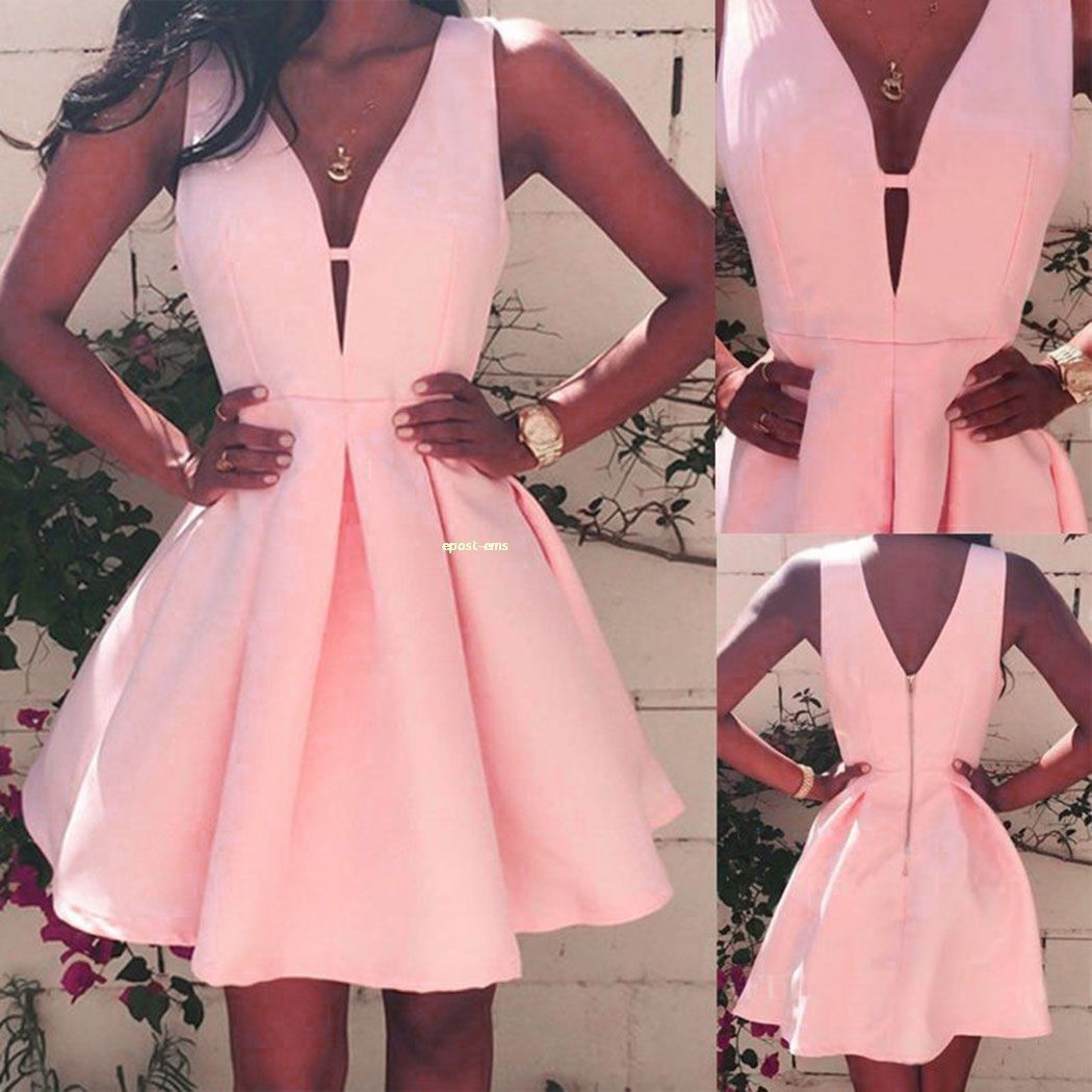 Women vneck pink dress sleeveless high waist aline party cocktail