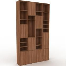 Photo of Wohnwand Nussbaum – Individuelle Designer-Regalwand: Türen in Nussbaum – Hochwertige Materialien – 1
