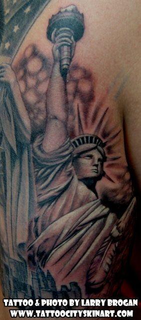 3efb8e495d3c4 Statue of Liberty New York tattoo by Larry Brogan. Tattoo City, Lockport,  IL. www.tattoocityskinart.com