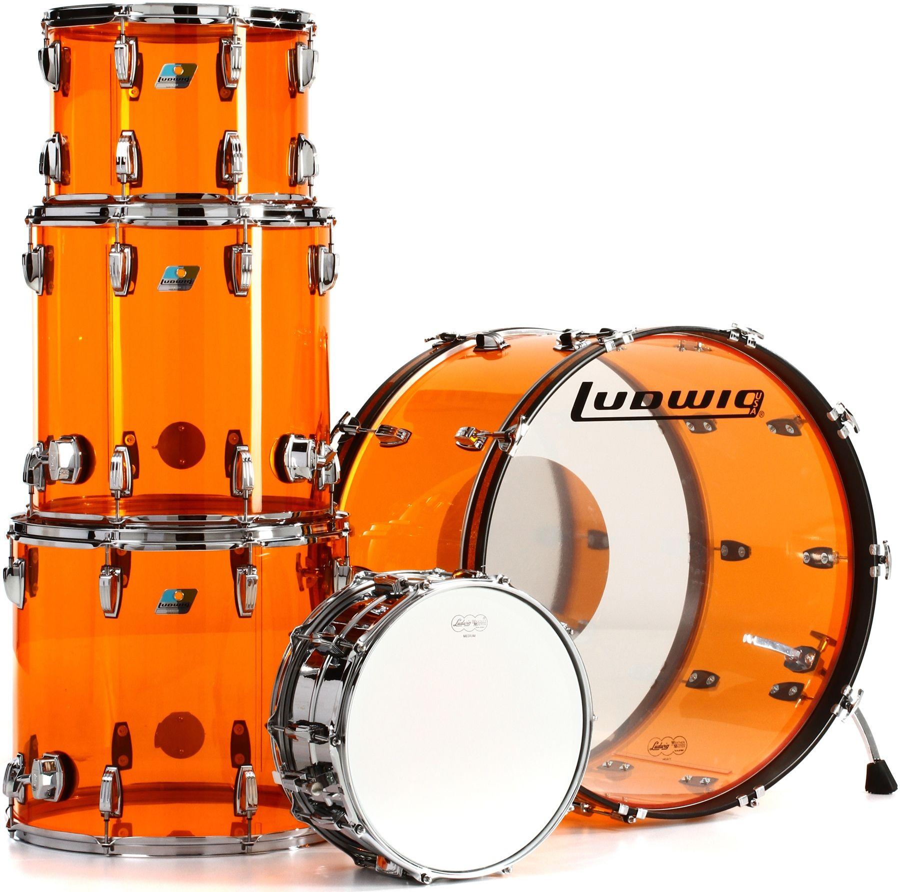 Ludwig Vistalite John Bonham Zep Set Shell Pack With Snare Drum Amber Ludwig Drums Drums Vintage Drums