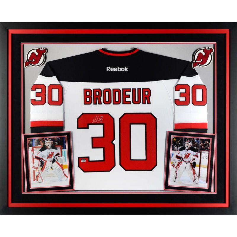 68706fadd Martin Brodeur New Jersey Devils Fanatics Authentic Deluxe Framed  Autographed White Reebok Premier Jersey