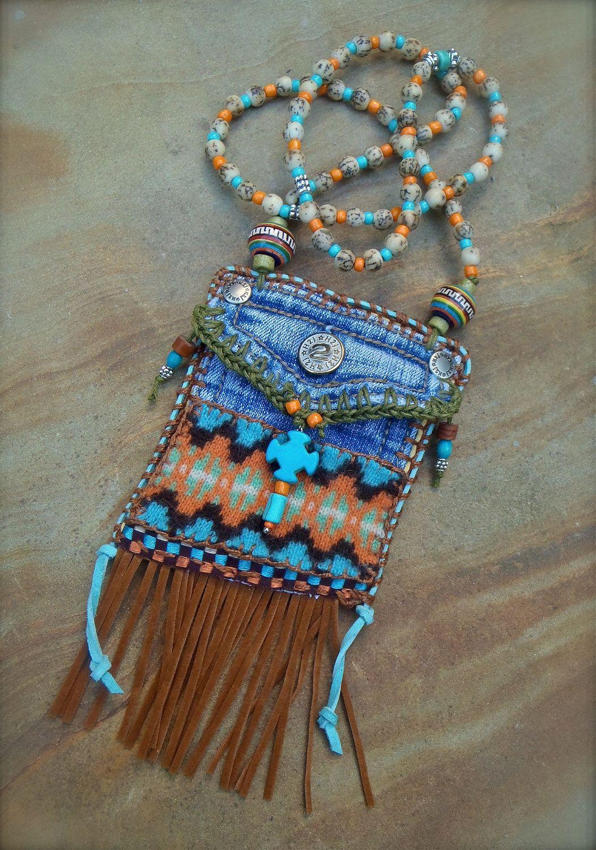 Mini Denim Aztec Medicine Bag Native American Indian By