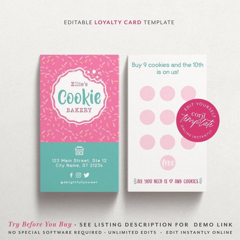 Corjl Editable Cookie Loyalty Card Sprinkles Loyalty Card Etsy In 2021 Loyalty Card Cupcake Business Cards Cookie Business