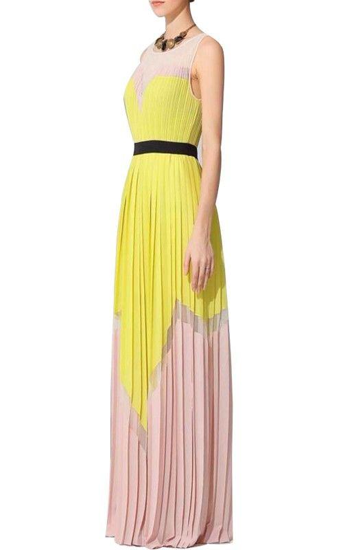 a3a3fa93039 Bcbgmaxazria Katherine Color Block Pleated Long Dress