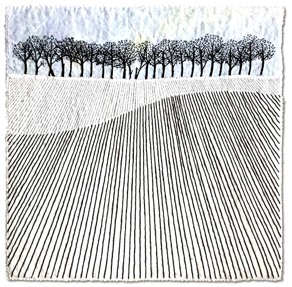 Trees on the Hill  sketched pencil lines as stitches