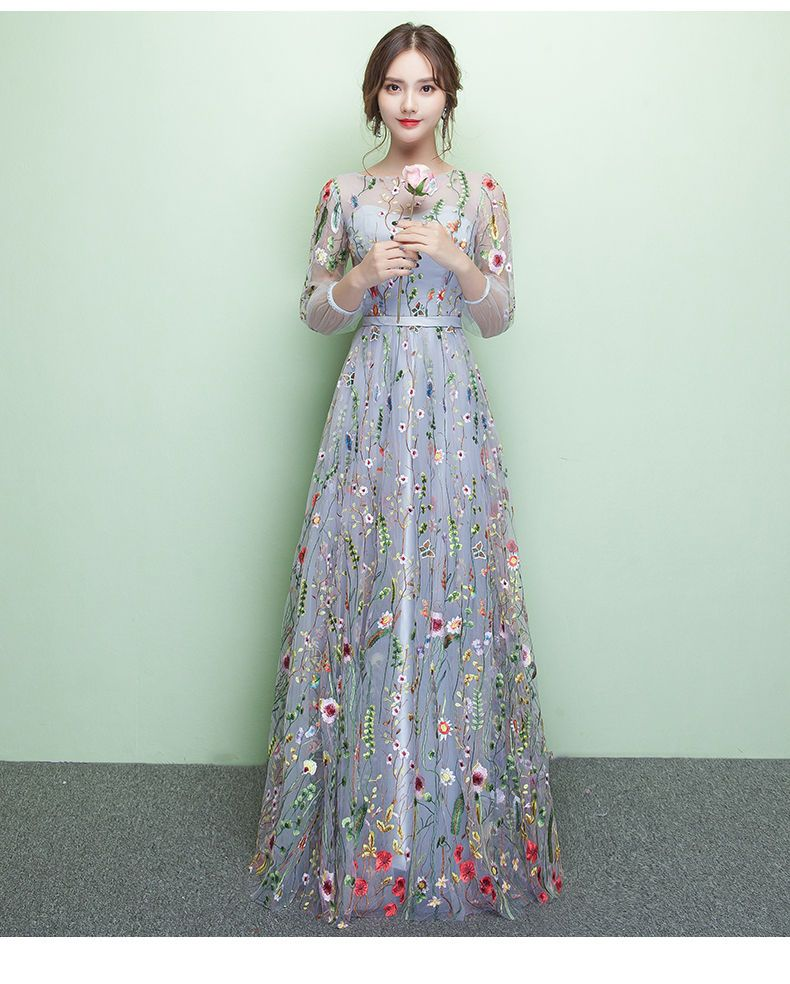 6d03d92090 Buy Rosita Floral Embroidered 3 4-Sleeve Evening Gown at YesStyle.com!  Quality products at remarkable prices. FREE Worldwide Shipping available!