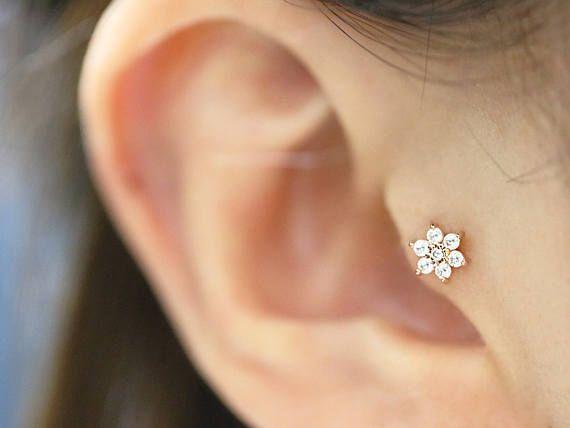 14k Flower Cartilage Earring Tragus Earring Tragus Stud Helix