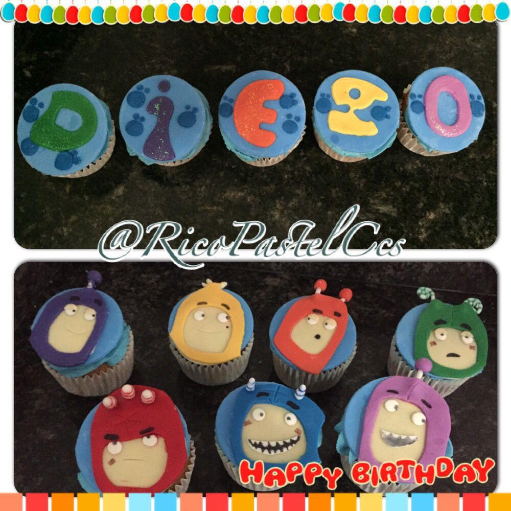 Oddbods Cupcakes  Marmoleados para cumpleaños