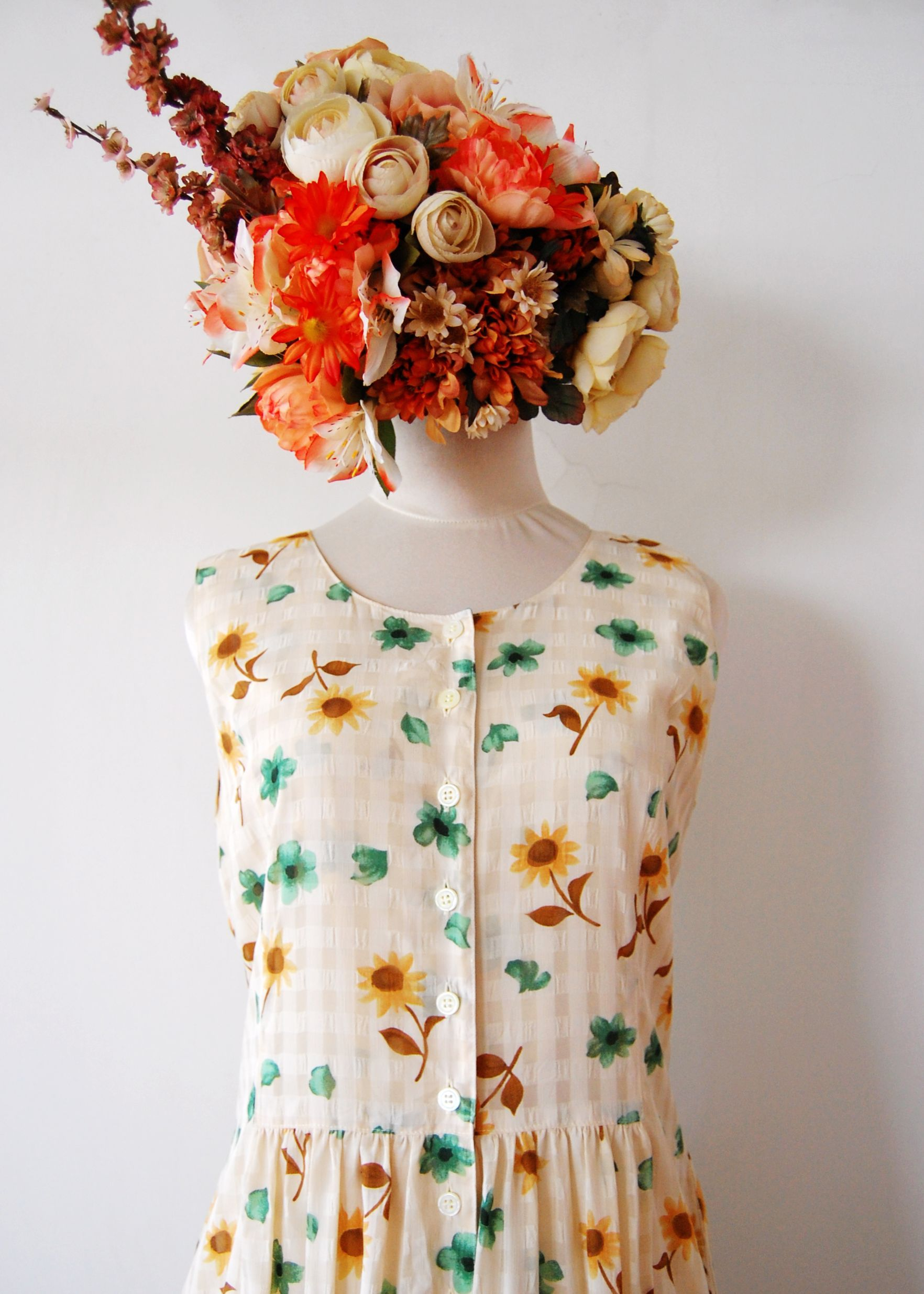 vintage s sunshine flower dress origin indonesia