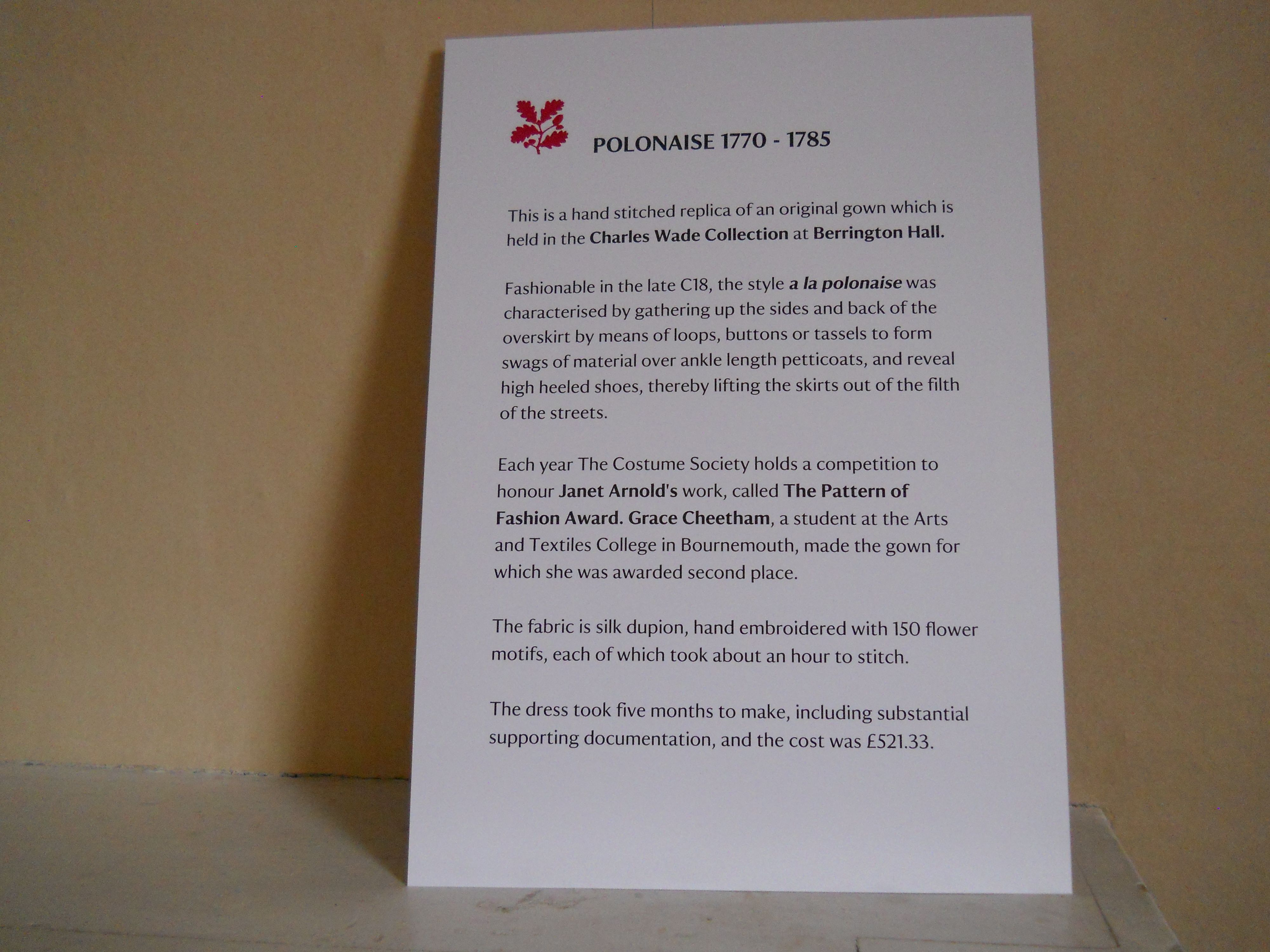 Berrington Hall About the polonaise