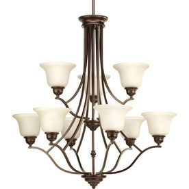 Progress Lighting Spirit 32.25-In 9-Light Antique Bronze Tinted Glass